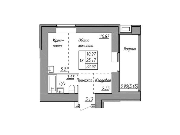 Планировки МАЯКОВСКИЙ - 1-комнатная 28,62 кв.м.