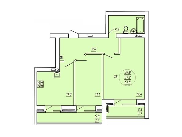 2-комнатная 61,8 кв.м