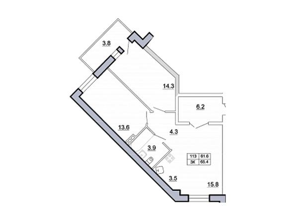 Планировка 3-комн 66,4 м²