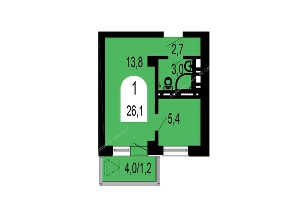 Планировки Жилой комплекс ТИХИЕ ЗОРИ, дом 1 (Красстрой) - Планировка однокомнатной квартиры 26,1 кв.м