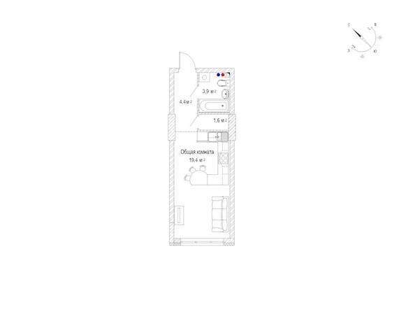 Планировка однокомнатной квартиры 30,1 кв.м
