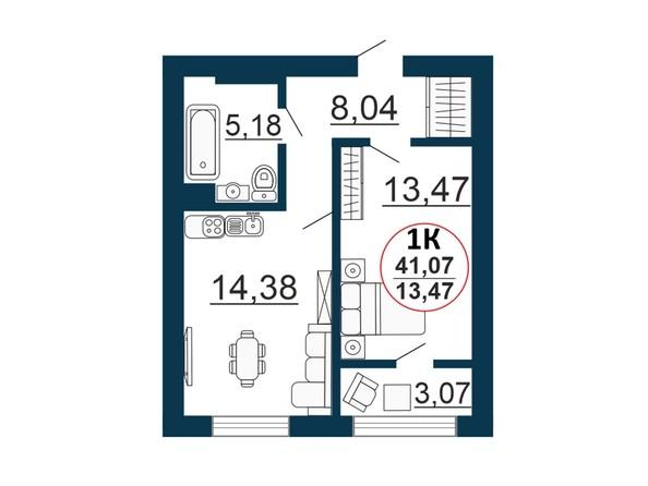 Планировка 1-комн 0 - 41,07 м²