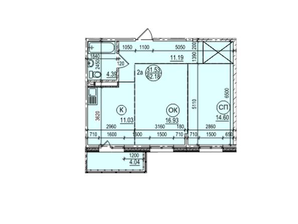 Планировка 2-комн 62,18 м²
