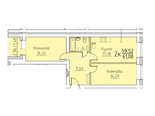 Планировка 2-комн 61 м²