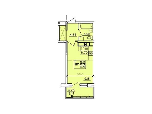 Планировки АЛЕКСАНДРИЯ, б/с 6 - 1-комнатная 27,43 кв.м