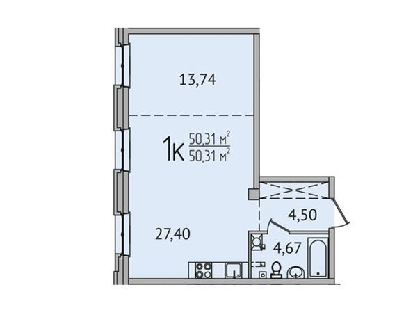 1-комнатная 50,31 кв.м
