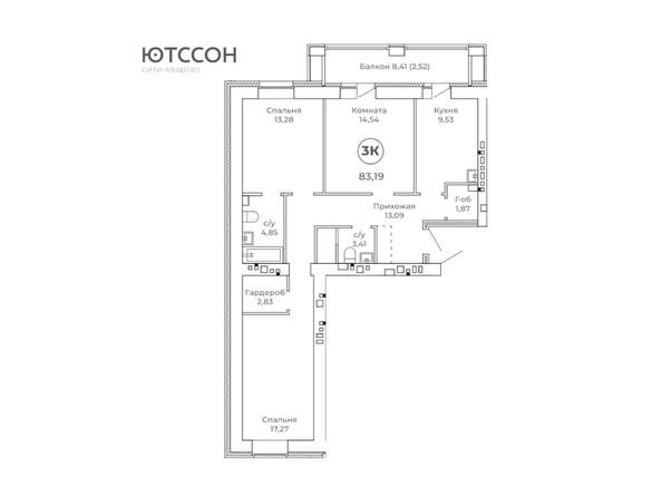 3-комнатная 83.19 кв.м