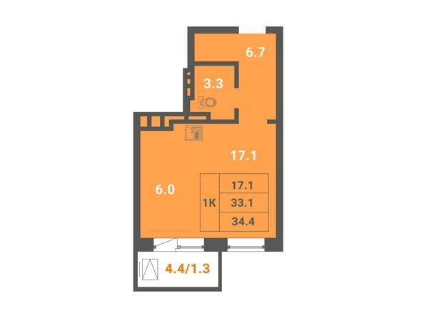1-комнатная 34,4 кв.м