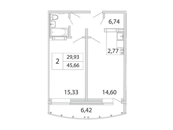 Планировка 2-комн 45,66 м²