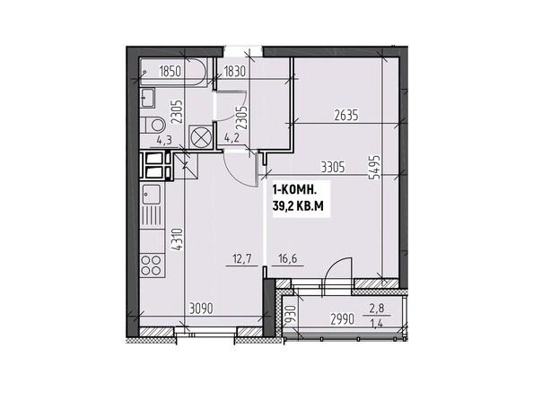 Планировки Жилой комплекс НА ВЫСОТЕ, 2 этап - Планировка однокомнатной квартиры 39,2 кв.м
