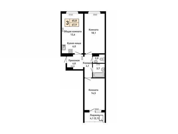 Планировка 3-комн 65,8, 67,9 м²