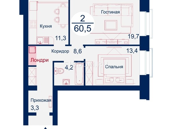 Планировка двухкомнатной квартиры 60,5 квм