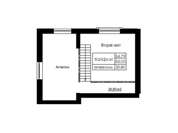 Планировки Жилой комплекс ДОМ НА БЕРЕЗОВОЙ РОЩЕ - Планировка трехкомнатной квартиры 58 кв.м. Уровень 2