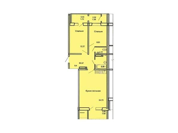 Планировка 3-комн 0, 65,57 м²