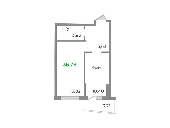 Планировки Жилой комплекс ЯСНЫЙ БЕРЕГ, дом 10, б/с 1-3  - Планировка однокомнатной квартиры 36,78 кв.м