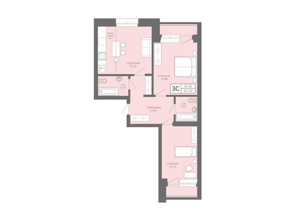 Планировки Жилой комплекс Да Винчи, дом 6 - 3-комнатная 81,55 кв.м