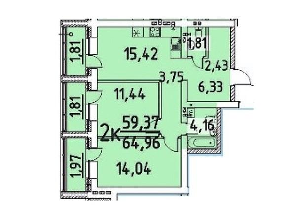 2-комнатная 59.37; 64.96 кв.м