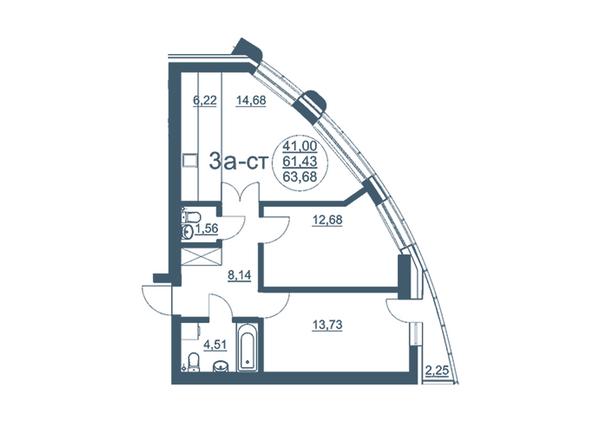 Планировки Жилой комплекс ФЛОТИЛИЯ - 3-комнатная 63,68 кв.м блок В