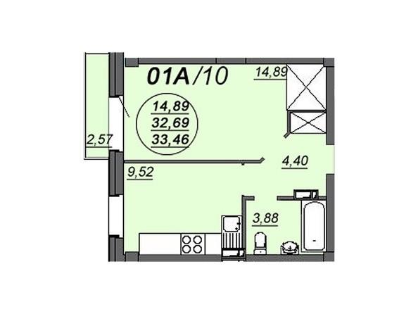 1-комнатная 33,46 кв.м