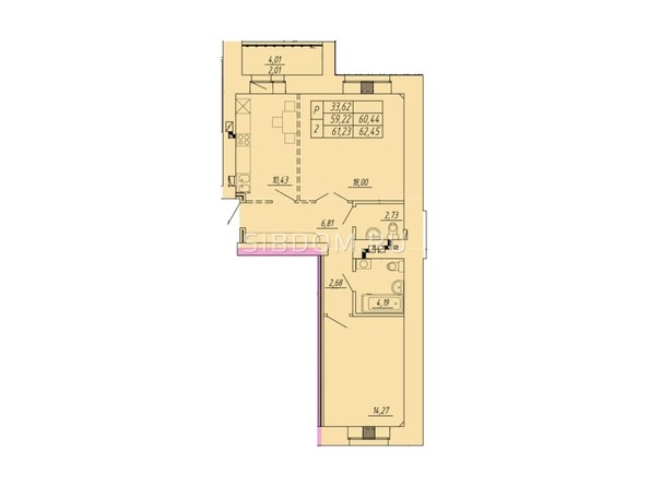 Планировка 2-комнатной квартиры 62,45 кв.м