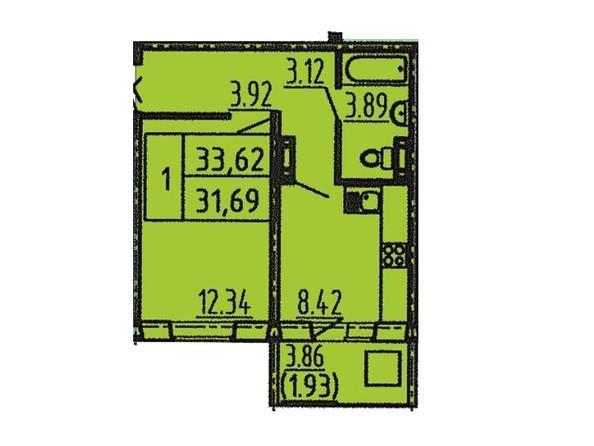 1-комнатная 31 - 33 кв.м