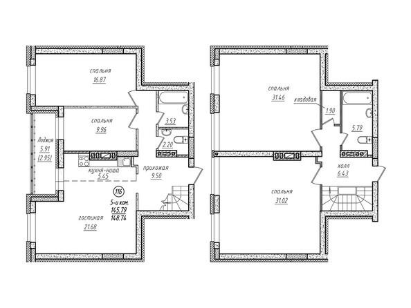 5-комнатная двухуровневая 148.74 кв.м