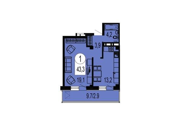 Планировка однокомнатной квартиры 43,3 кв.м