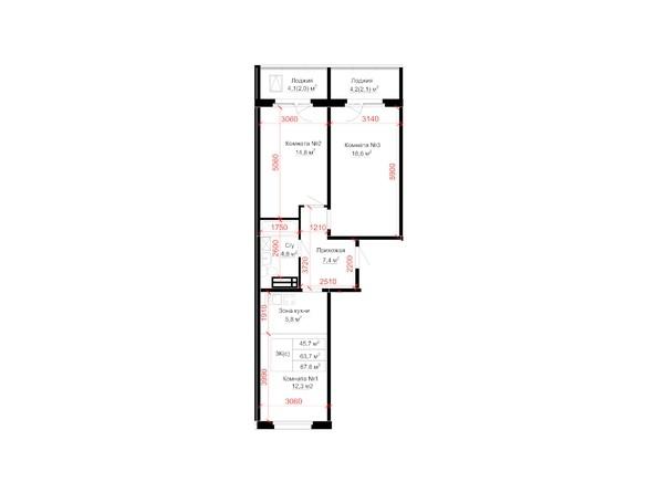 Планировки Жилой комплекс «ДОБРЫНЯ. СЕМЕЙНЫЙ ДОМ» ж/к - 3-комнатная 67,8 кв.м