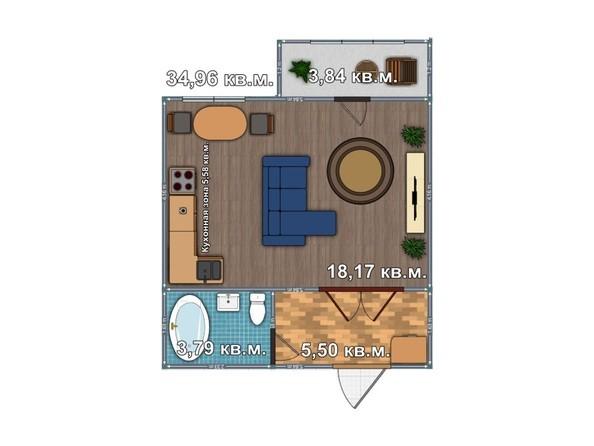 Планировка 1-комнатной квартиры 34,96 кв.м