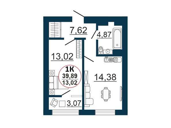 Планировка  39,35 - 40,21 м²