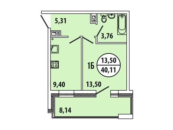 Планировка 1-комн 39,41 - 40,12 м²