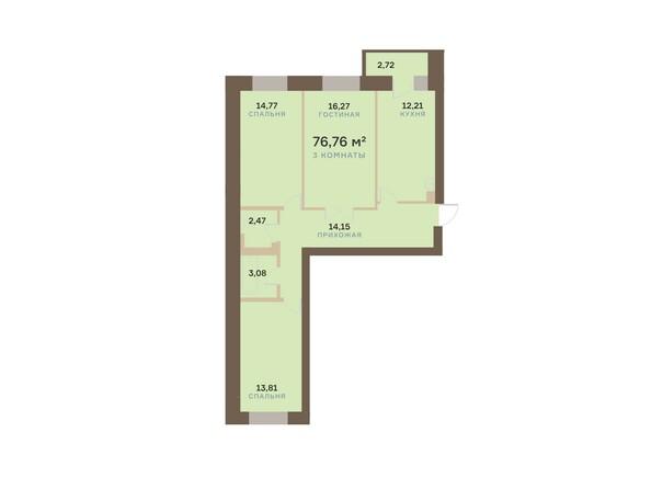 Планировки Жилой комплекс АЛЕКСАНДРОВСКИЙ, дом 1 - 3-комнатная 76,76 кв.м