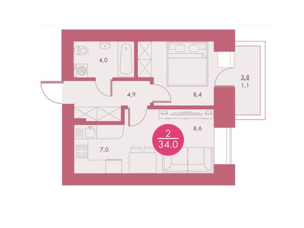 Планировки Жилой комплекс Арбан SMART (Смарт) на Шахтеров, д 2 - Планировка двухкомнатной квартиры 34 кв.м