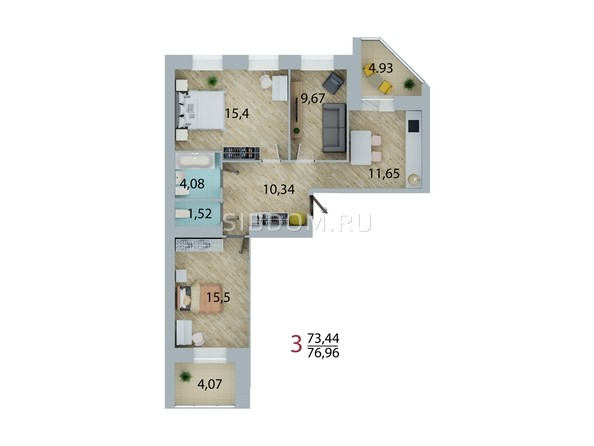 Планировка 3-комн 76,96 м²