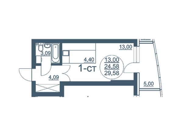 Планировки Жилой комплекс ФЛОТИЛИЯ - 1-комнатная 29,58 кв.м блок В