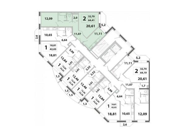 Планировки Жилой комплекс РАДОНЕЖСКИЙ, КПД-3 - Планировка двухкомнатной квартиры 64,41 кв.м