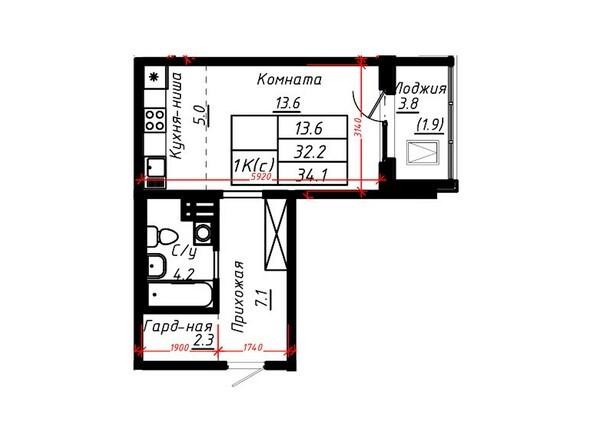 1-комнатная 34,1 кв.м