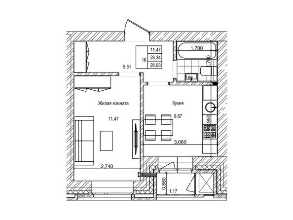 Планировка 1-комн 28,2 - 28,5 м²