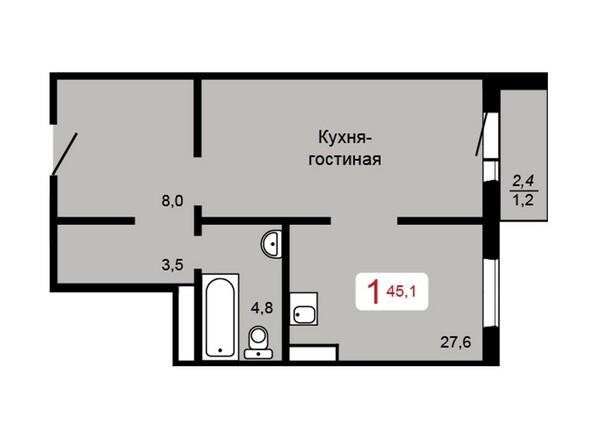 Планировка 1-комн 45,1 м²