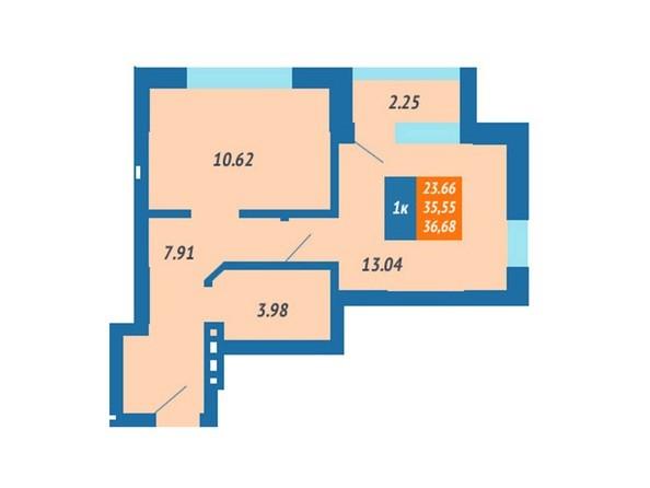 Планировка 1-комн 36,68 м²