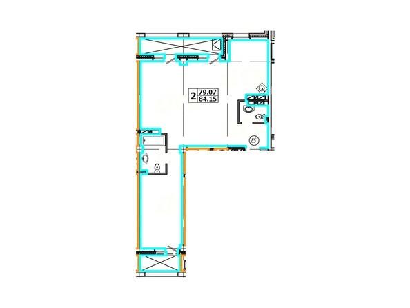 Планировка 2-комнатной квартиры 84,15 кв. м