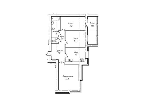 Планировки Жилой комплекс Антона Петрова, 221г - Планировка трёхкомнатной квартиры 86,74 кв.м