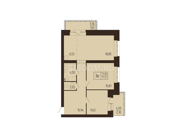 Планировки Жилой комплекс СВОИ ЛЮДИ  - Планировка трехкомнатной квартиры 77,13 кв.м
