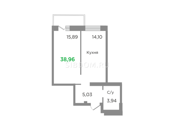 Планировки Жилой комплекс ЯСНЫЙ БЕРЕГ, дом 11 - Планировка однокомнатной квартиры 38,96 кв.м