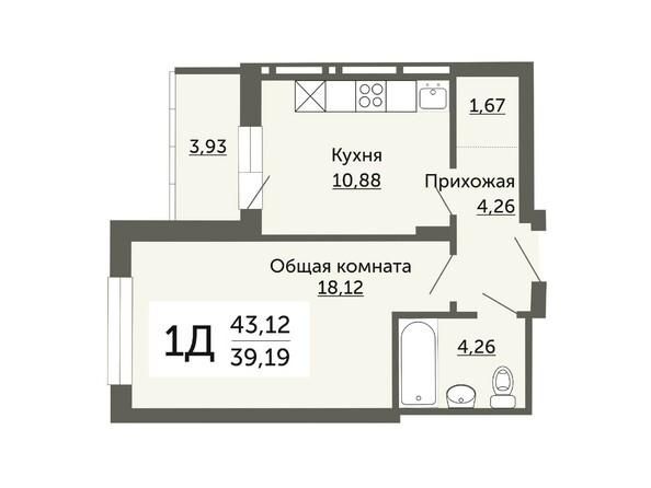 Планировки Жилой комплекс ДОМ НА НЕМИРОВИЧА, б/с 1 - Планировка однокомнатной квартиры 39,19 кв.м