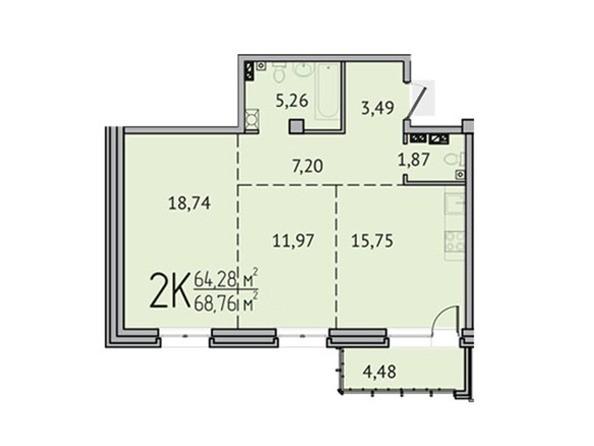 2-комнатная 64,28 кв.м