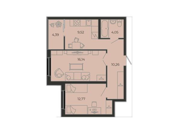Планировки Жилой комплекс ONE LOFT - 2-комнатная 57,13 кв.м