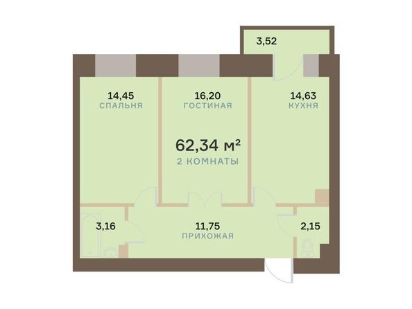Планировка 2-комн 62,34 м²