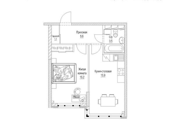 Планировка 1-комн 43, 43,2 м²