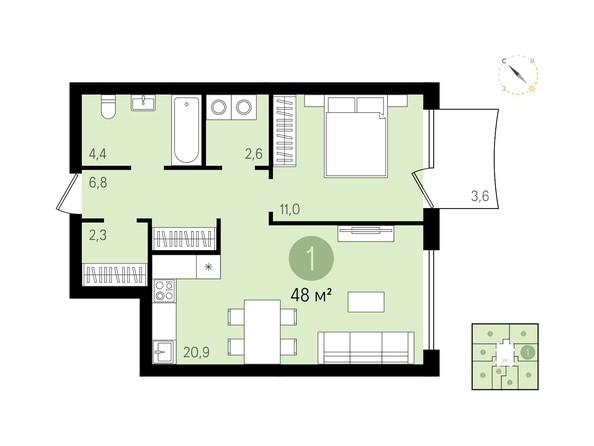Планировка 1-комн 48, 49,1 м²